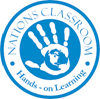 Logo for Nations Classrooms Blue and White logo